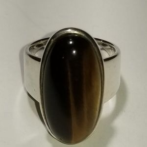 Elongated Oval Tiger's-eye Ring